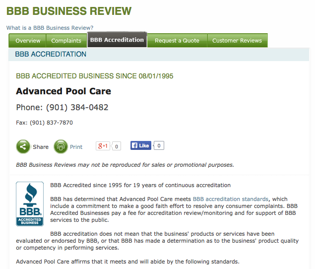 BBB-A+ Pool Business Review