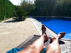Backyard swimming pool fun